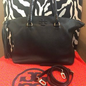 EUC Tory Burch Taylor leather satchel in black